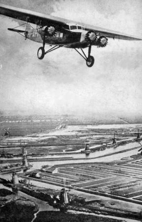 Fokker F.XII over a Dutch landscape, 1930
