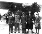 Schiphol, may 1930, just before the world famous worldtraveller Kingsford Smith departs from Schiphol airport. Right the KLM pilot Evert van Dijk and his wife