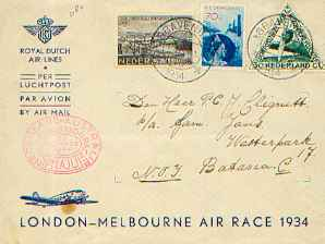 Letter with special Melbourne-race stamps