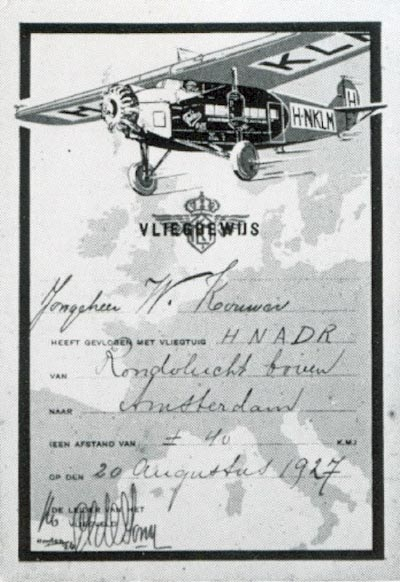Airborncertificate for passengers as a souvenir for their first flight